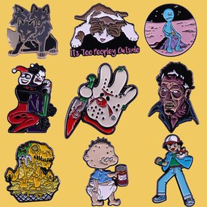 SP075 Friday the 13th Cartoon Metal Enamel Pin and Brooches Backpack Bags Badge Denim Brooch Collar Jewelry Gifts 1 pcs