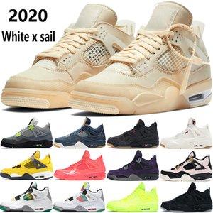 Haute qualité 4 4s chaussures de basket-ball nouveau blanc x voile rasta SE poinçon Neon Travis violet chaud Jumpman mens sport Chaussures de sport