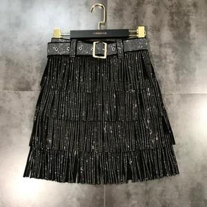 2020European fashion New design women's high waist with belt sashes rhinestone shinny bling layered tassel fringe short skirt S M L XL