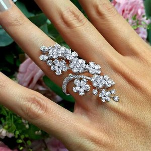 Classic Crystal Flower Drop Geometry Joint Rings Women Charm Temperament Dance Party Accessories Female Ring
