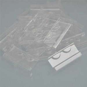 atacado 50/100 / embalar bandejas chicote claras / branco mink plástico cílios bandeja titular cílios para embalagem caixa de cílios vendo a granel caso quadrado redondo