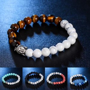 Ancient silver Buddha Head Nature Stone Bracelet Agate Lava Stone beads women mens bracelets will and sandy fashion jewelry new