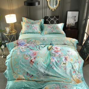 Queen King size 3D Bedding Set Luxury Bed set Silk Satin Cotton Duvet cover Fitted sheet Bed sheet set linge de lit ropa de cama T200706