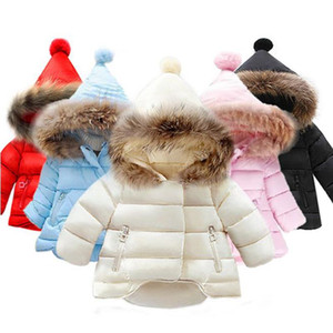 Baby Girl Clothes Fur Collar Kids Hoodies Jacket Long Sleeve Toddler Girls Coat Warm Children Outwear Winter Baby Clothing 6 Colors DW4803