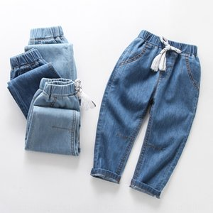 phw8M Boys and jeans Anti Mosquito jeans' summer thin denim anti-mosquito pants children's and children's soft loose version leg-tied breath