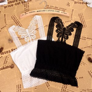 JIN-Swhbias Hot Summer Autumn Tubo Cortar parte superior do tanque Mulheres Lace Bow Strap Lady Top Wear Black White 2020