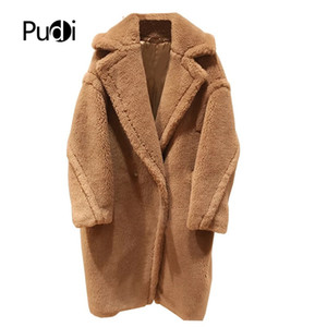 PUDI 2020 new women fashion real sheep fur over coat girl leisure solid teddy color jacket over size parkas ct817