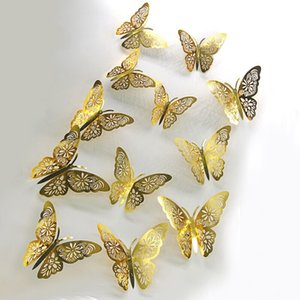 Each Set of 12 Hollow-out 3D Butterflies Home Decoration 3D Butterfly Children Wall Stickers Party Decoration