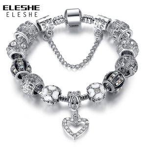 ELESHE European Silver Color Charm Bracelet with Crystal Flower Heart Beads Strand Bracelet for Women DIY Jewelry Christmas Gift