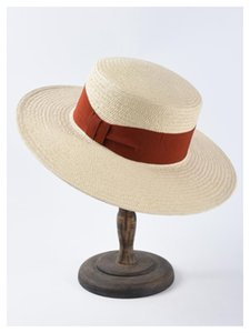 MAXSITI U concise Raffia hat in summer new women's solid color bow flat top straw hat with large eaves sun