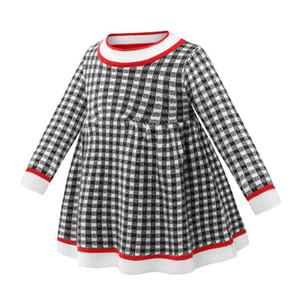 Mädchen Designer-Kleid-Kind-Herbst-Winter Kleid-Kind-Strickjacke gestrickte Röcke süße Prinzessin-Kleid-Mädchen-lange Hülse Plaid Tuch Hot Verkauf
