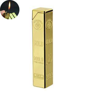 Lingotes de metal en forma de encendedor creativo barra de oro de butano recargables encendedor de gas de la llama de mechero