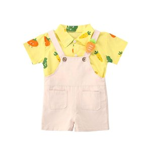 Pudcoco New Children Boys Gentleman Set Fruits Outfit Kids Short Sleeve T-Shirts Top Overall Shorts Set 6M-5T