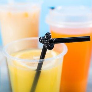 Arte colore nero nodo imballaggio indipendente monouso in plastica a freddo bevanda paglia bevanda fredda succo di fabbrica PP paglia