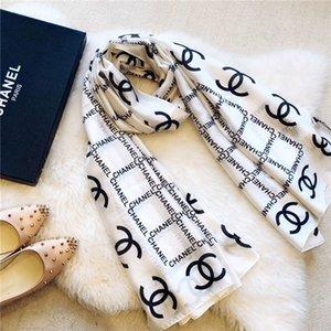 Diseñador de la bufanda de seda de las mujeres 180x90cm Carta de la bufanda del mantón marca de moda cuello largo regalo de Navidad Anillo