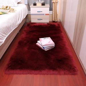 Прямоугольник нордической красного центра гостиной ковер Спальня Этаж Белых Искусственный Мех Прикроватной Ковер Спальня ковер мягкая пушистые овчины меховая Коврики