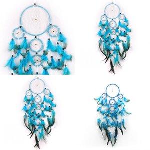 Wind Chime Dream Catcher Eolie Bells circolare rotonda Widget blu piuma della piuma Arts Crafts di lavoro manuale dell'ornamento regalo ciondolo appeso 11 5JY C2