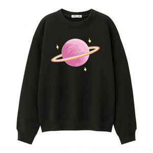 Round collar sports casual women 2020 new Top sweater sweater pink rainbow planet printing long sleeve top