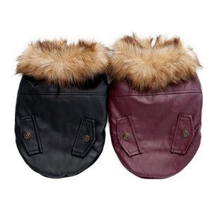 Vêtements pour animaux domestiques automne et Vestes d'hiver manteaux de fourrure de chien en cuir hiver chaud Puppy Dog Gilet DH0311