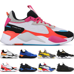 RS-X من الرجال والنساء عارضة الأحذية RS-X الثلاثي الأسود مشرق الخوخ الفوشيه بيربل رجل المدربين الأزرق أتول مسارات الرياضية عارضة الأحذية حذاء رياضة