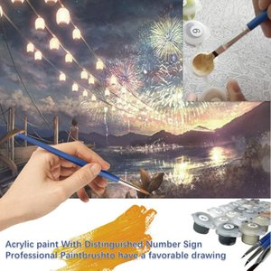 Fireworks Season Scenery DIY Digital Painting By Numbers Kit Modern Wall Art Canvas Painting Unique Gift Home Decor 40x50cm 0427