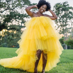African Yellow Prom Dresses Plus Size Strapless High Low Tiered Ball Gown Evening Dress Black Girls Dubai Cocktail party Gowns Vestidos