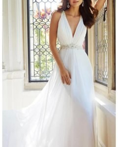 A-Line Wedding Dresses V Neck Sweep   Brush Train Chiffon Sleeveless Simple with Ruched Beading