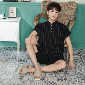 mzSKO Weiyu Aishe Männer steuern Abnutzung 2020 neue Baumwolle waffge zweiteilige einfache Weiyu Aishe Männer neue Homewear 2020 Baumwolle waffge Pyjamas zwei-pie