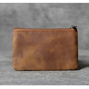 ABER Head-Schichtrindleder-Mini-Portemonnaie Retro handgemachte ultradünne Lizenzkarte Pack Leder Fahrer
