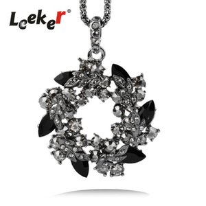 Collar largo de la flor de acrílico Negro Leeker Gótico de lujo Garland redondo grande colgante con gris circonio cúbico 344 LK7