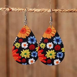 New Water Drop PU Leather Earrings Printed Sunflower Flower Teardrop Charm Pendant Eardrop Ear Hook Earring For Women Jewelry Gifts
