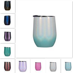10 Farben 12 Unzen Glitter Wine Tumbler mit Lids Strohhalme Edelstahl-Regenbogen-Ei formte Tassen Doppelschalig Vacuum Big Belly Kaffee-Becher-Glas