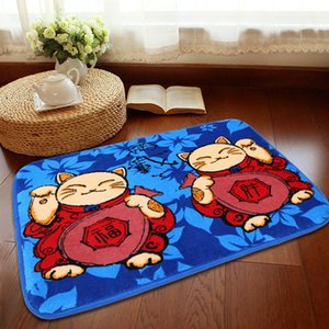 Fortune cat children Bathroom Kitchen non-slip cartoon doormat coral fleece non-slip floor mat