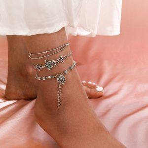 3pcs set Bohemian Crystal Stone Anklets Heart Beach Foot Chain Conch Starfish Alloy Turtle Pendant Leg Bracelet Women Jewelry Gift Wholesale