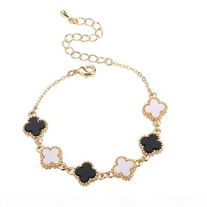 A Bracelets &Chains Four -Leaf Black White Fashion Diy Jewelry Alloy Hot Short Necklace For Women 2017 New Love 15 Cm Adjustable Access