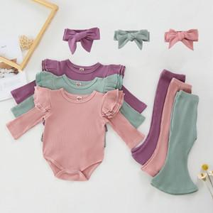 Roupa do bebê da menina da criança Sólidos Pants Romper Alargamento alça 3pcs Conjuntos de algodão manga comprida Meninas Outfits Boutique Roupas de bebê DW5693