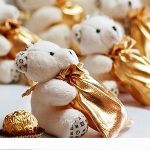 Wedding Ivory Teddy Bear candy bag Wedding Favors party Gifts Holder