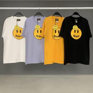 venta caliente Drew House camiseta de manga corta de la cadera O-Hop de algodón de cuello camiseta de los hombres de las mujeres sonrisa dibujó Tees Streetwear Tops