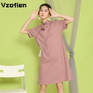 Sommer im chinesischen Stil Verbesserte Cheongsams-Kleid-Mädchen-lose Freizeit Altorientalische Qipao kurzes Hülsen-Gitter-Kleid