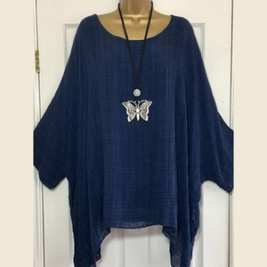 Casual Batwing Sleeve Women Blouse Anomalistic Cotton Linen Blouses O-Neck Long Sleeve Loose Tunic Summer Solid Plus SIze Tops Y200622