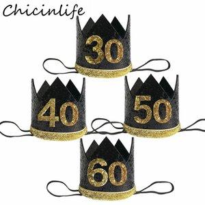 Chicinlife 1Pcs 30 40 50 60 años de la corona Fiesta de cumpleaños cumpleaños diadema sombreros adulto Aniversario Cap Sombreros Decoración