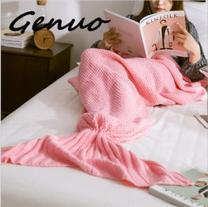 Genuo 2020 New Knitted Mermaid Tail Handmade Crochet Super Soft Mermaid Blanket Fish Scale Knitted Cashmere TV Sofa Skirt