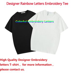 Designer Mens Womens T Shirts New Arrival Rainbow Letters Embroidery Men Women T Shirt Casual Summer Unisex Letter Tees with tag&label