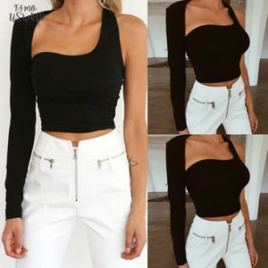 Womens Sexy One Shoulder Crop Top Long Slim Vest Tops Ladies Sexy Hollow Out Bodycon Backless Stretch Clubwear Tees