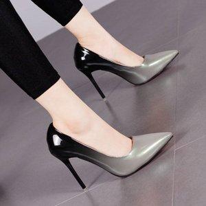 Градиент цвета Остроконечных Toe Shallow 10CM Высокие каблуки насосы женщины shoes2019 офис смешанных цветов Тонких каблуков Резиновой подошва женской обувь