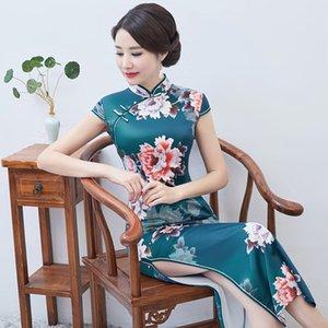 Venta caliente satinado cheongsam tradicional china de alta calidad de Qipao chino atractivo Collar del mandarín Qipao de la tarde del partido del vestido Vestidos