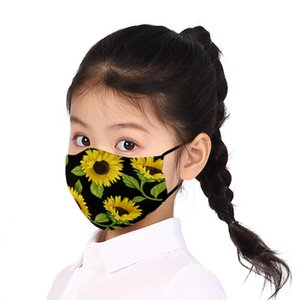 Kids Sunflower Mask 10 Colors Cartoon Flower Printed Reusable Washable Anti Dust Protection Mouth Masks LJJO7861