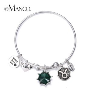 eManco Birthstone Twelve Constellations Bangles for lovers' Vintage Round LOVE Heart Letters Bangle Gift pulseras mujer
