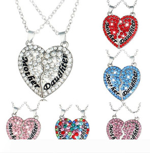 mothers and daughters heart-shaped Love diamond stitching pendant necklace Mother's Day gift fashion jewelry Party Favor NN