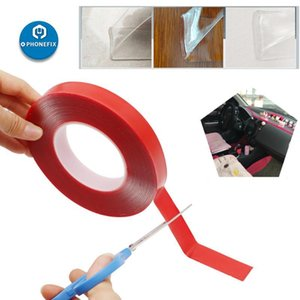 Strong Adhesive PET Red Clear Film Double Side Tape No Trace 3 5 8 10 15 20mm 10M For Phone Tablet LCD Screen Car LCD TV Glass FbW3#